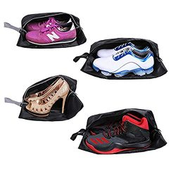 JV16 Travel Shoe Bags Set of 4 Waterproof Nylon With Zipper (Black)