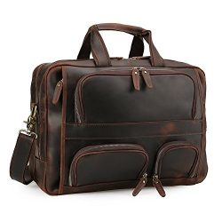 Tiding Men's Cowhide Leather Messenger Bag Business Travel Satchel Briefcases Fit 17 inch  ...