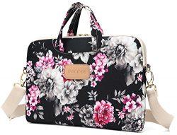 DACHEE Black Rose Pattern Laptop Shoulder Messenger Bag Case Sleeve for 14 Inch 15 Inch 15.6 inc ...