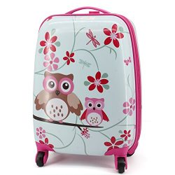 Lttxin cute kids suitcase pull along girls travelling with 4 wheel hard shell 16 inch owl