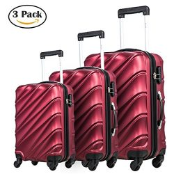 Luggage Set 3 Piece Lightweight Travel Luggage Hardshell Suitcase Rolling Trolley Spinner Luggag ...