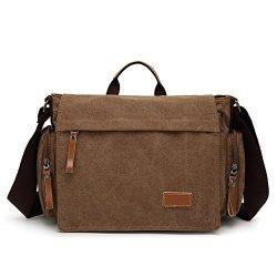 MiCoolker Canvas Crossbody Laptop Messenger bag for Men Over the Shoulder Travel Purse Vintage H ...