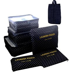 7 Set Travel Packing Organizer,Waterproof Mesh Durable Luggage Travel Cubes with 1 Shoe Bag R ...