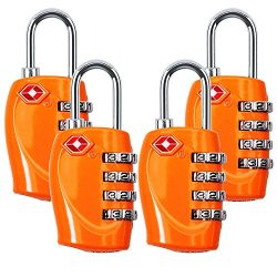 4 Dial Digit TSA Approved Travel Luggage Locks Combination for Suitcases 4 Pack -Orange