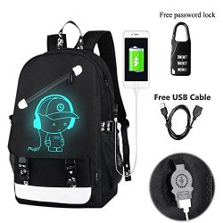YYCB Anime Luminous Backpack Noctilucent School Bags Daypack USB chargeing port Laptop Bag Handb ...