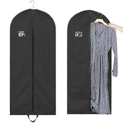 Titan Mall 54″ Black Garment Bags Breathable Coat Cover Carrier Bag for Travel with Velcro ...