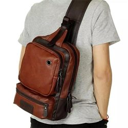 AOLIDA Men Sling Bag Leather Unbalance Chest Shoulder Bags Casual Crossbody Bag Travel Hiking Da ...