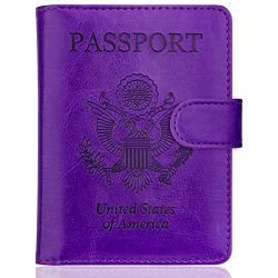 WALNEW Passport Holder Cover Case RFID Passport Travel Wallet, Purple