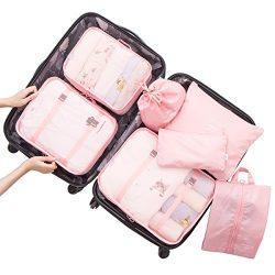 Belsmi 7 Set Packing Cubes With Shoe Bag – Travel Luggage Organizer (Pink)