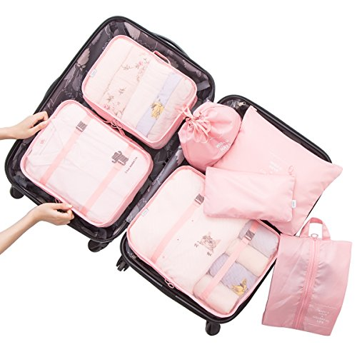 f88c2f01fee5 Belsmi 7 Set Packing Cubes With Shoe Bag - Travel Luggage Organizer ...