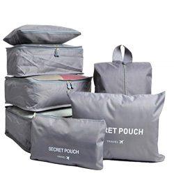 7 Set Travel Cubes,5 Colors Waterproof Mesh Durable Luggage Packing Organizers,1 Travel Shoe Bag ...