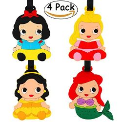 JoyJon 4 Pack Unique Princess Luggage Tags Adjustable Strap Name ID Labels Baggage Tag For Your  ...