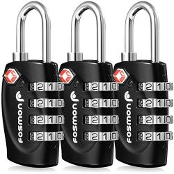 TSA Approved Luggage Locks, Fosmon (3 Pack) 4 Digit Combination Padlock Codes with Alloy Body