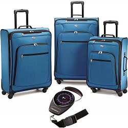 American Tourister Pop Plus Lightweight Luggage Set Moroccan Blue with Scale