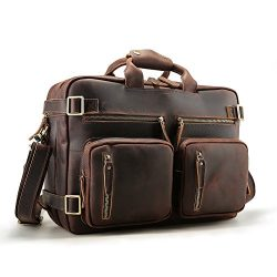 Tiding Men Expandable Genuine Leather Convertible Briefcase Backpack Messenger Laptop Computer T ...