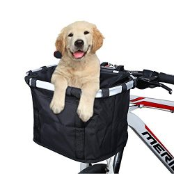 ANZOME Folding Bicycle Bike Basket, Front Detachable Handlebar Cycling Pet Bike Basket Carrier B ...
