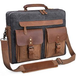 Mens Messenger Bag 15.6 Inch Vintage Genuine Leather Briefcase Waterproof Waxed Canvas Laptop Co ...
