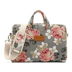 Canvaslife Gray roses Pattern 15 inch Waterproof Laptop Shoulder Messenger Bag Case With Rebound ...