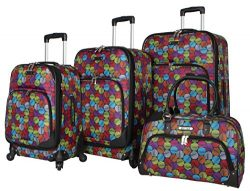 Rosetti Lighten Up Luggage Set 4 Piece Expandable Softside Suitcase With Spinner Wheels (Party Pop)