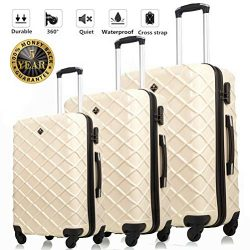 Luggage Sets 3 Pieces Hardshell Spinner Suitcase Lightweight 20 24 28 Inch with Lock Travel (20& ...