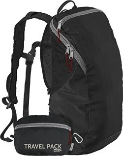 ChicoBag Travel Pack rePETe Compact Recycled Backpack – Jet Black