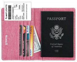 SimpacX Fabric Passport Holder Wallet Cover Case RFID Blocking Travel Wallet (rose red)