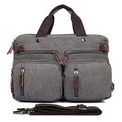 Convertible Backpack Messenger Bag Shoulder bag Canvas Handbag Large Business Briefcase Multi-fu ...