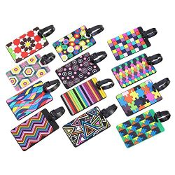 12 Pieces Luggage Tags Assorted Travel Suitcase Labels Business ID Card Holder