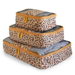 Travel Packing Cubes Set (3 Piece), Ideal for Travel and Closet Organizer (Leopard)