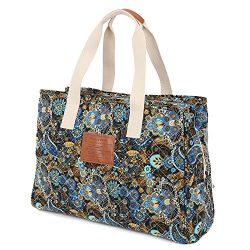 Malirona Women Ladies Canvas Large Capacity Multi-Pocket Tote Shoulder Bags Bohemian Flower Design