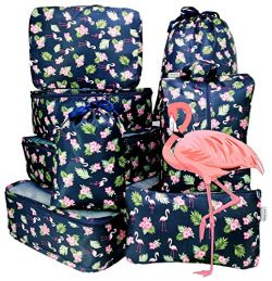 8 Set Travel organizers Packing Сubes Luggage Accessories Сlothes Shoes Bag Fleet Flamingo