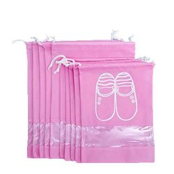 UQueen 10 pcs Travel Transparent Dustproof Non-woven Fabrics Drawstring Multifunctional Shoe Sto ...
