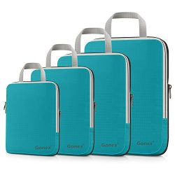 Gonex Compression Packing Cubes Set, Expandable Packing Organizers 4pcs (Blue)
