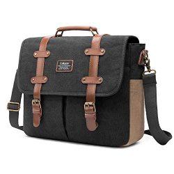 Mens Messenger Bag, 15.6 Inch Laptop Shoulder Bag Canvas Genuine Leather Business Briefcase Larg ...