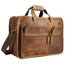 Polare Men's 17″ Full Grain Leather Messenger Bag for Laptop Briefcase Tote
