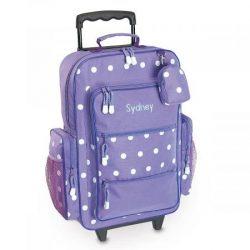 Purple Polka Dot Personalized Kids Rolling Luggage – 5×12 x19.75″H, Kids Travel Bag