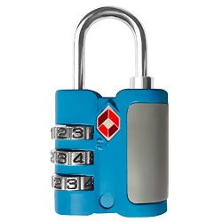 TSA Approved Cable Luggage Locks,3 Digit Combination Padlock with Zinc Alloy Body