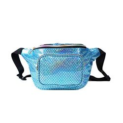 JIGSEAME Women Fanny Pack Holographic Waist Pack Festival Bum Bag-Fanny Pack with Adjustable Bel ...