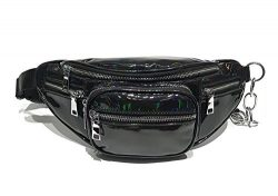 Hologram Waist Bag Waterproof Shiny Neon Fanny Pack Bum Bag Travel Purse Satchel Black