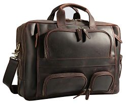 Polare Men's 17″ Full Grain Leather Briefcase Business Messenger Bag Tote