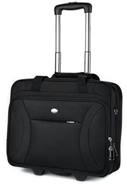 Rolling Laptop Case, COOFIT Nylon Rolling Laptop Briefcase Roller Laptop Bag (New Version Black)