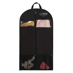 Ezihom 54″ Gusseted Travel Garment Bag for Suit and Dress with Clear Window Pockets