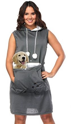 Womens Pet Carrier Dresses Kitten Puppy Holder Long Shirts Big Pouch Hood Tops