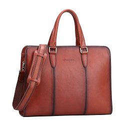 Banuce Genuine Leather Briefcase for Women Tote Handbag Laptop Messenger Attache