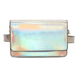 Mily Fashion Girls Laser Waist Bag Hologram Leather Fanny Pack Chain Shoulder Bag Stylish Travel ...