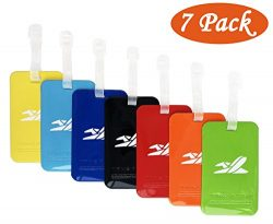 Bright Colorful Luggage Tags, Soft Assorted Suitcase Luggage Bag Tags by Aphlos (7 Colors)