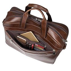 Augus Business Travel Briefcase Genuine Leather Duffel Bags for Men Laptop Bag fits 15.6 inches  ...