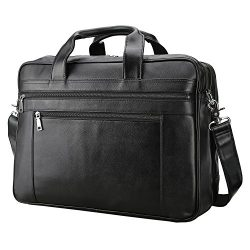 "Polare Men's Real Soft Napa Leather 17"" Briefcase Laptop Business Bag Black"