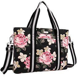 MOSISO Laptop Tote Bag (Up to 17.3 Inch), Canvas Classic Rose Multifunctional Work Travel Shoppi ...