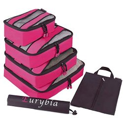 Eurybia – 4 Set Packing Cubes – Variety of Sizes Travel Organizers with Laundry Bag  ...